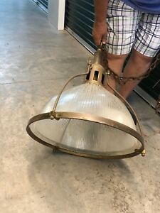 Gigantic Vintage Industrial Pendant Light With Brass Frame And Ribbed Glass