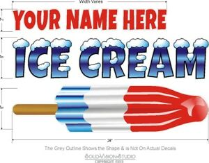Ice Cream Custom Bomb Pop Name Concession Cart Food Truck Concession Sign Decal