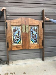 An477 Match Pair Antique Saloon Doors Stained Glass 53 X 74