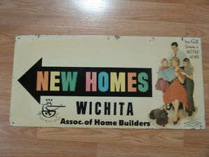 Vintage 1961 Nutone Wichita Assoc Of Home Builders Real Estate Sign