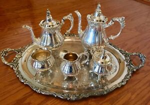 7 Piece Antique Silverplate Wallace Baroque Coffee Tea Service Set With Tray