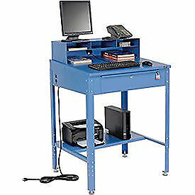 Shop Desk 34 1 2 w X 30 d X 38 To 42 1 2 h With Pigeonhole Compartments Lot Of