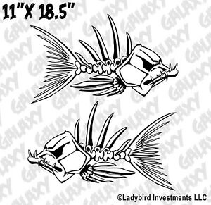 Tribal Fish Skeleton Decals X2 Large Truck Car Boat Fishing Stickers