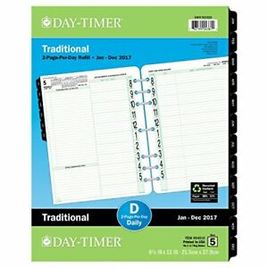 Day timer Daily Planner Refill 2017 Two Page Per Day Traditional 8 1 2 X 11