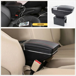 Auto Center Armrest Storage Box Led Light Usb Charging Car styling Accessories