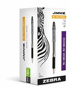Zebra Pen Jimnie Rollerball Gel Pens Medium Point 0 7mm 24 count 20 Black