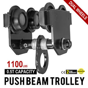 0 5 Ton Push Beam Track Roller Trolley Overhead Washers Included Adjustable