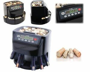 Electric Money Coins Sorter Counter Machine Commercial Bin Wrappers Le