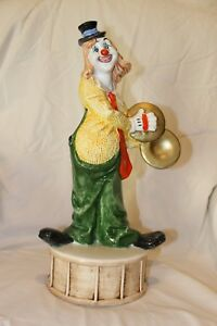 Capodimonte Large 18 Clown On Drum W Cymbals Vintage Collectibles Italy