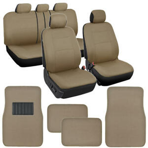 Full Car Seat Cover Carpet Floor Mats Interior Set Fits Split Bench Beige