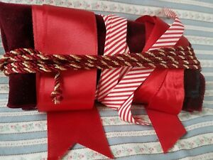 Vtg Red Gold Metallic Cord Ribbon White Stripe Trim Velvet Fabric Christmas Lot
