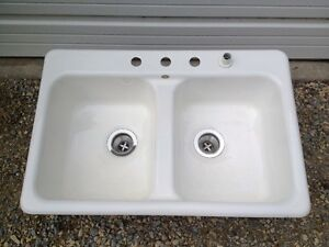 Vintage Cast Iron Porcelain Sink Eljer 100lbs Double W 4 Holes Stainless Drains