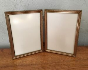 Vintage Bifold Decorative Metal Picture Frame For 5x7 Photos W Glass