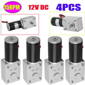 4x Dc12v 15rpm Reversible High Torque Turbo Worm Electric Gear Motor Reversible