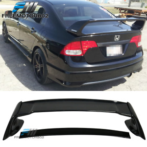 Fits 06 11 Honda Civic Fd2 Sedan 4 door Jdm Mu Black Abs Trunk Spoiler Wing