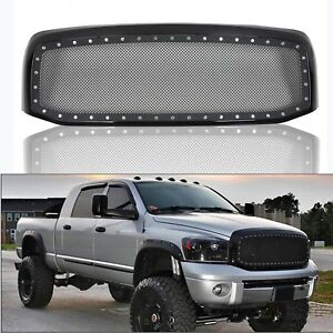 Fit 2006 2008 Dodge Ram Rivet Black Stainless Steel Wire Grille Grill Mesh Shell