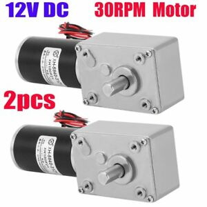 2x 12v 30rpm High Torque Turbine Gearbox Worm Gear Reduction Dc Motor Reducer Kp