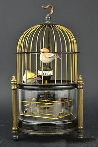 Collectible Old Copper Glass Lifelike Bird Decor Mechanical Clock Only Hour