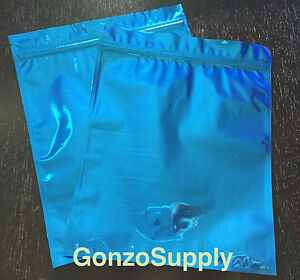 200pc Large Blue Mylar Ziplock Bags coffee Food Merchandise Storage 8x10in New