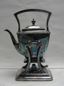 Antique Pairpoint Silverplate 0315 Tilt Teapot With Stand And Burner