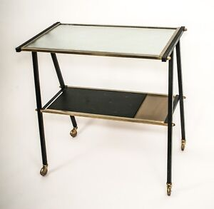 French Mid Century Rolling Bar Tea Cart Tv Stand Guariche Arp