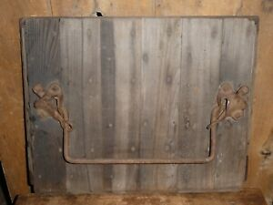 19th C Old Primitive Barn Wood Silo Door Wrought Iron Step Bar Towel Holder Rack