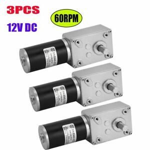 3x Dc 12v 60rpm Reversible High Torque Turbo Worm Electric Geared Motor Us Sz