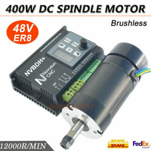 Cnc Machine 400w Bl Spindle Motor Brushless Dc Drive Controller 12000rpm Er8