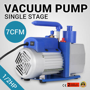 Single Stage 7 Cfm 1 2 Hp Rotary Vane Deep Vacuum Pump 110v 60hz Tool