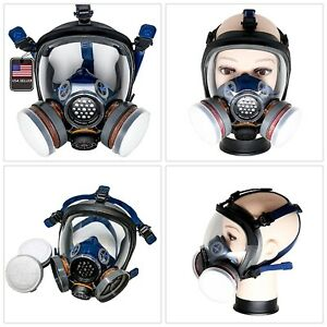 Full Face Respirator Double Air Filter Visor Protection Gas Mask Safe Breathing