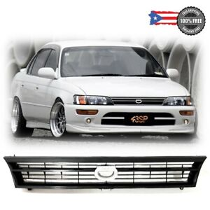 For 93 97 Toyota Corolla Abs Black Front Bumper Hood Grill Grille Crown Logo