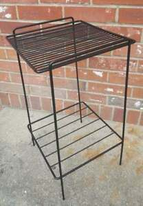 Vintage Plant Stand Patio Table Sturdy Black Wrought Iron Grate 2 Tier 11x11x20