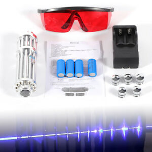 High Power Laser Pointer Blue Beam Pen 5 Head case battery charger goggles 5mw