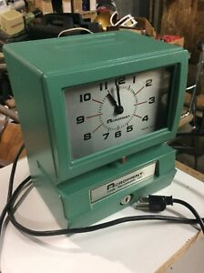 Vintage Aeroprint Time Clock Recorder Works No Key Good
