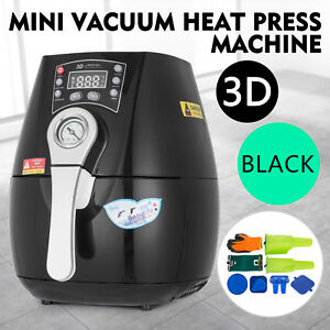 3d Mini Vacuum Heat Press Machine Black Hq Lightweight Sublimation 1300w Printer