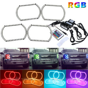 Rgb Multi color Led Headlight Angel Eye Halo Rings Kit For 07 14 Chevy Silverado