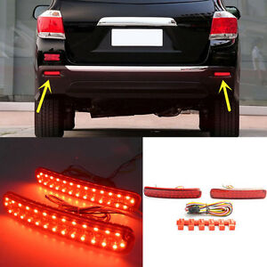 For Toyota Highlander 2011 2013 Rear Bumper Reflector Fog Tail Warn Turn Lights