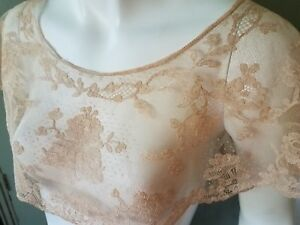 Antique French Alencon Lace Bertha Collar Blush Pink Flesh Nude Color