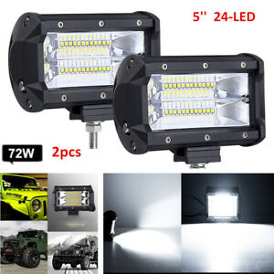 2x 5 72w Led Work Light Bar Flood Driving Lamp Jeep Truck Boat Offroad Suv Atv