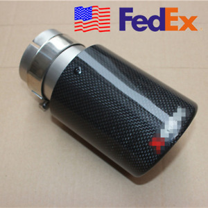 Usa 100 Carbon Fiber Car Universal Exhaust Clamp On Tip 63mm Muffler Trim Cover