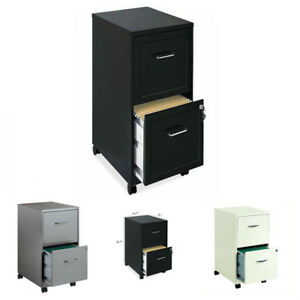 2 Drawer Metal File Cabinet Mobile W Two Locking Drawers Ideal For Small Office