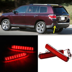 For Toyota Highlander 2011 2013 Rear Bumper Reflector Fog Tail Stop Warn Lights