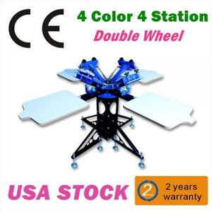 Us 4 Color 4 Station Silk Screen Printing Machine Equipment T shirt Diy Printer