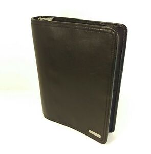 Franklin Covey Unstructured Black Leather Classic Planner Binder Organizer Zip
