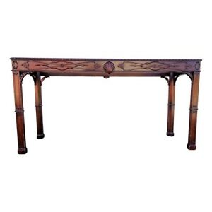 Vintage Fretwork Carved Chippendale Console Table Hall Sofa Table Scallop Shell