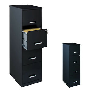 Home Office File Cabinet Black W 4 Drawers Design For Small Office W Lock