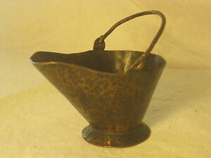 Hammered Metal Mini Ash Bucket Cauldron Handled Small Copper Or Bronze