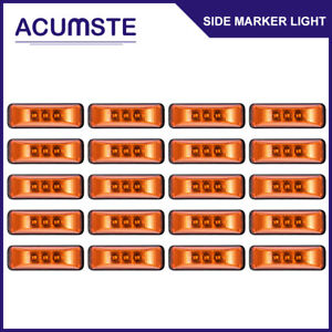 20pc 3 9 Amber 3led Clearance Side Marker Light Utility Trailer Truck Universal