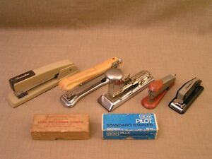 5 Vintage Usa Staplers W staples ace Pilot Aceliner Arrow Swingline 747 99