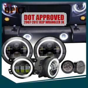 For Jeep Wrangler Jk 07 17 7 Led Headlight Fog Turn Signal Lamp Dot Approved